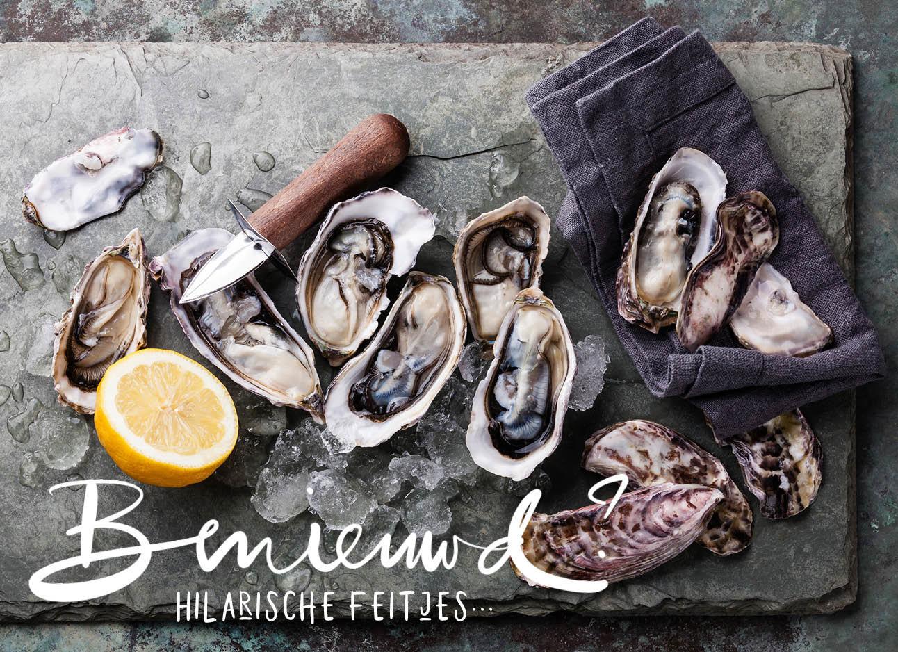 oesters met citroen op een plateau