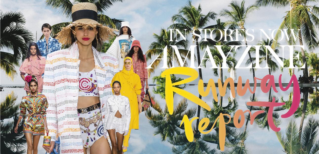 banner magazine modellen kaia gerber palmbomen kleur runway report amayzine