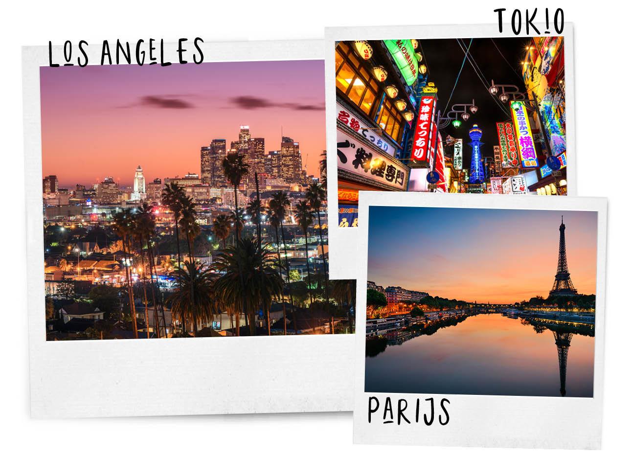 sunset over seine in parijs, sunset in los angeles met aplmbomen en lichtjes, tokio by night met alle lichtgevende borden