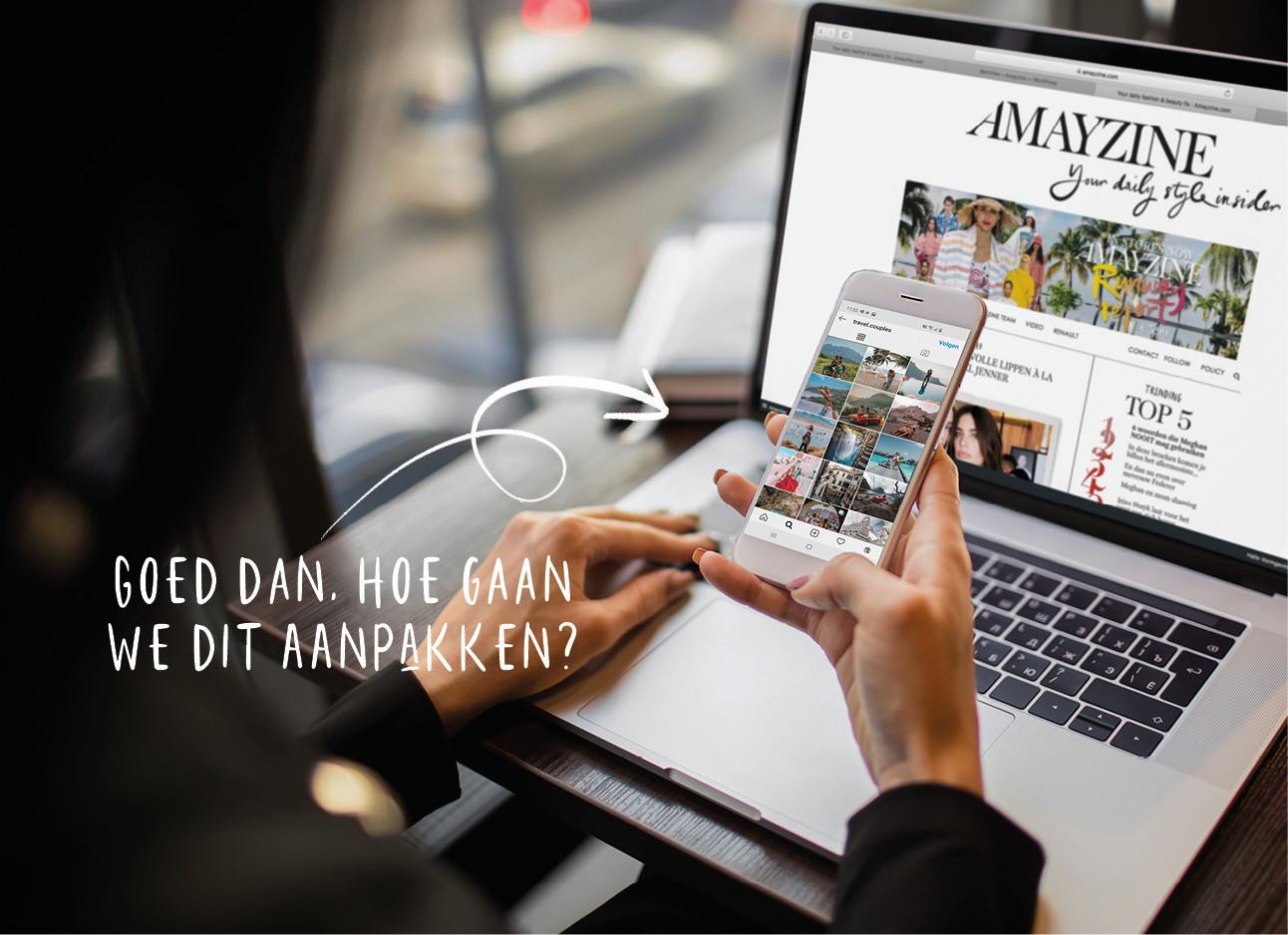 Vrouw tijdens werk op Instagram