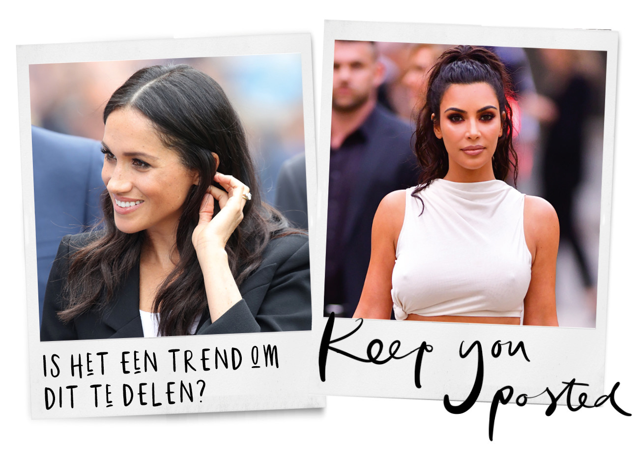 meghan markle lachend in zwarte blazer, is het een trend om dit te delen?, kim kardashian in witte outfit, keep you posted