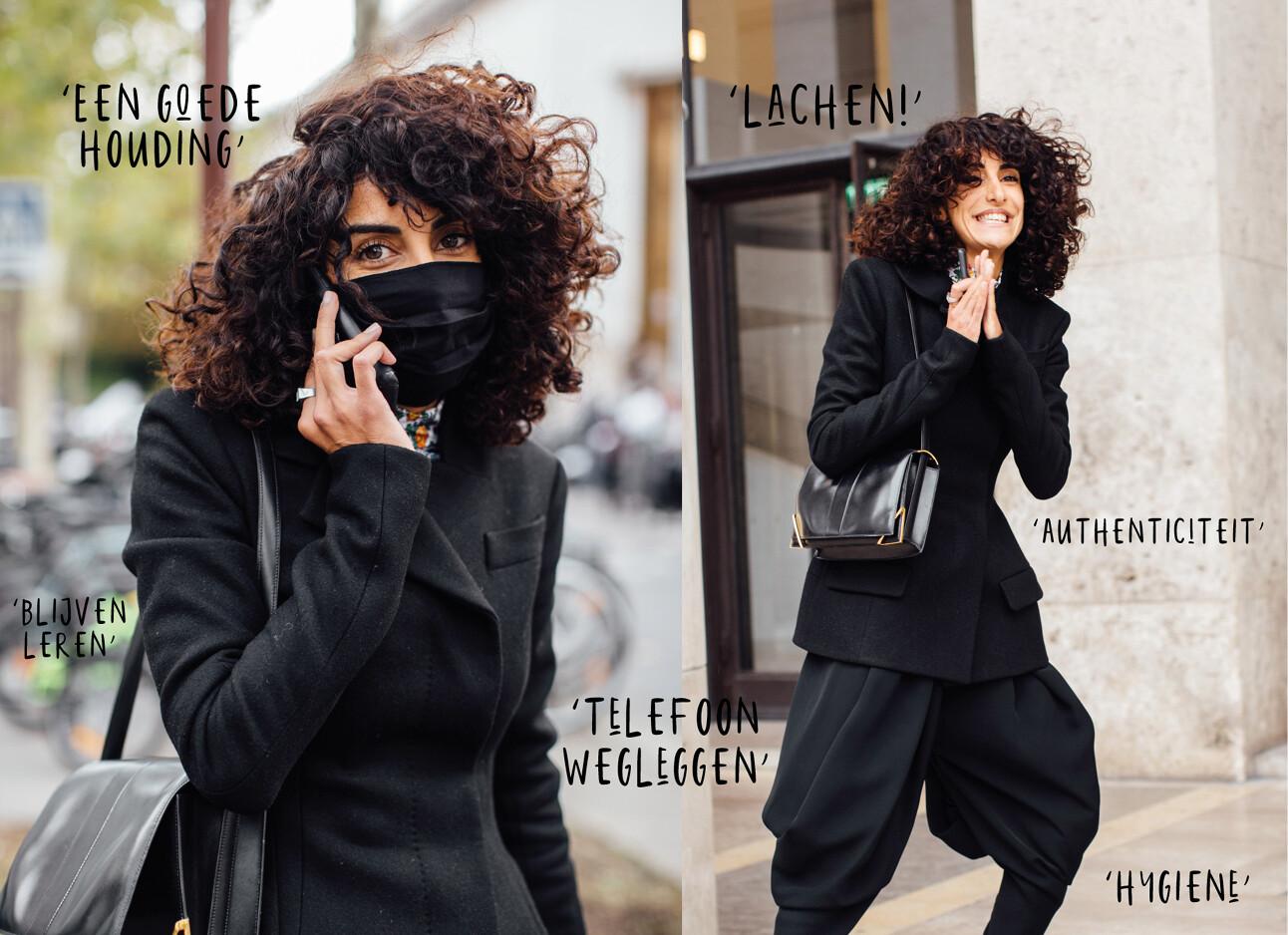 vrouw op straat lachend