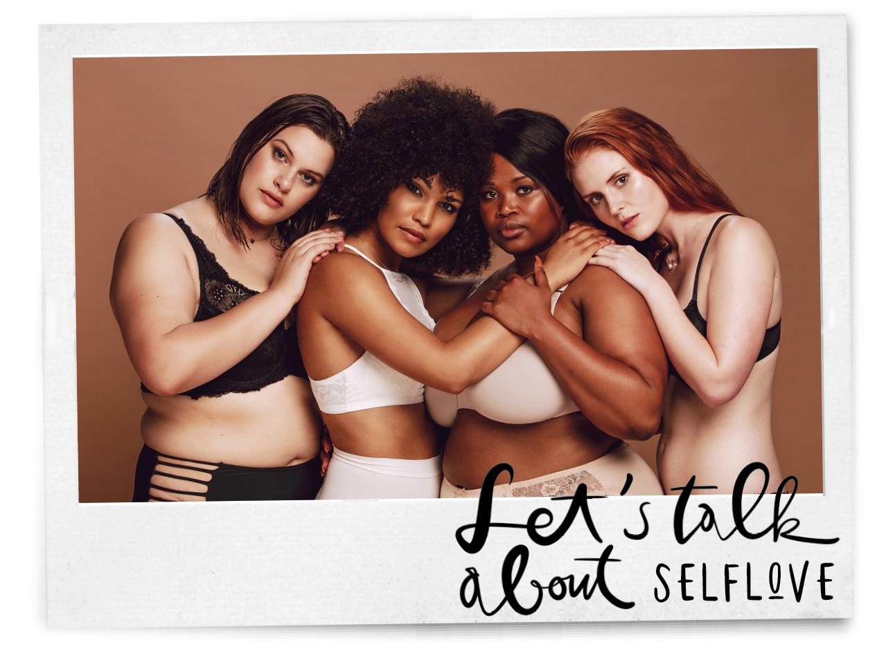 Vrouwen in lingerie houden elkaar vast