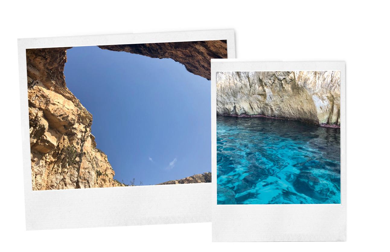 Beelden van malta met blauw water