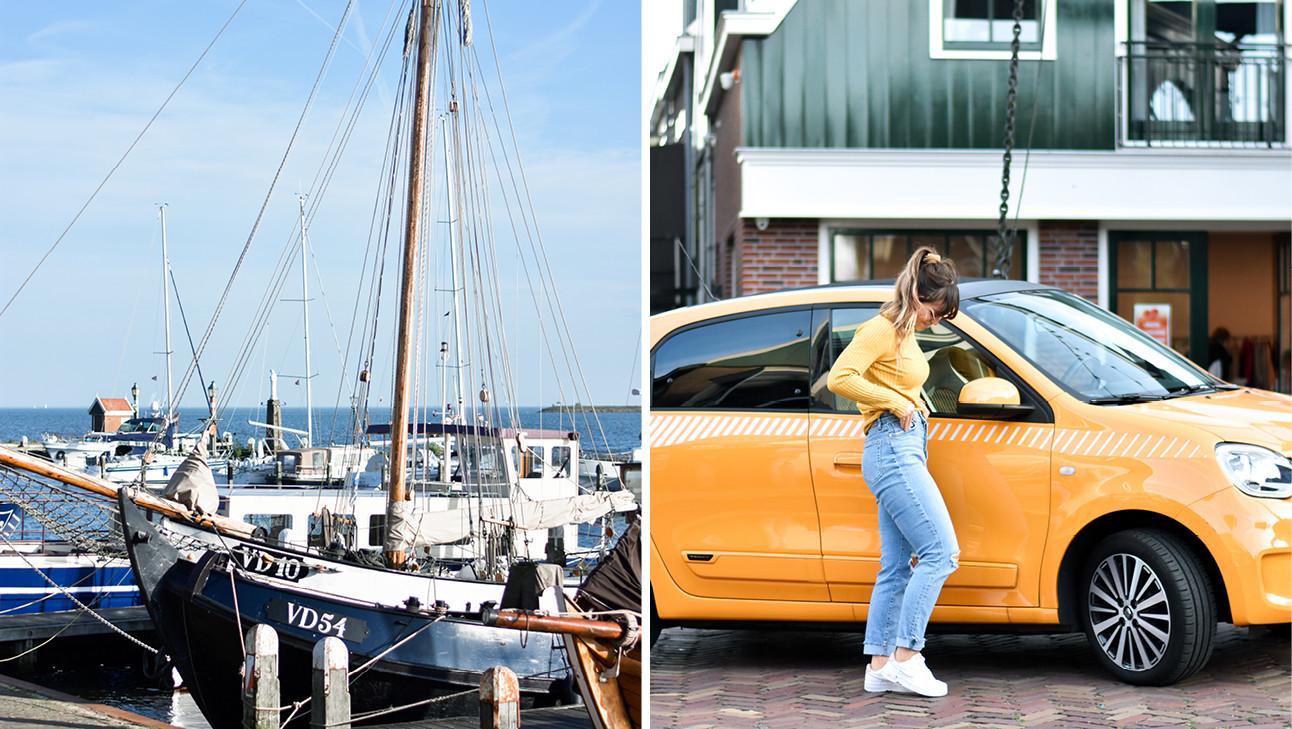 Kiki naast de renault en een boot