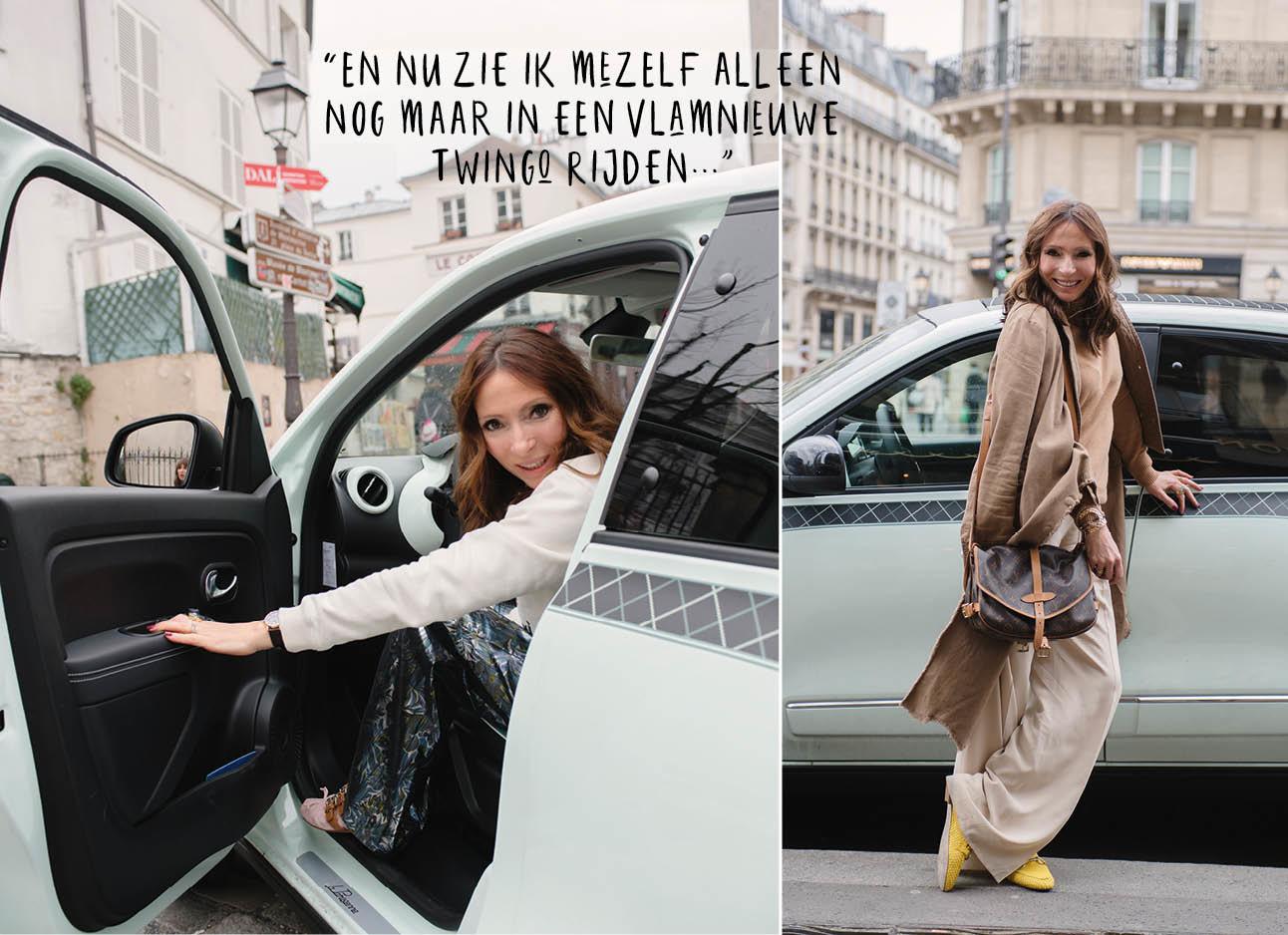 may in haar renault twingo in parijs, nieuwe auto