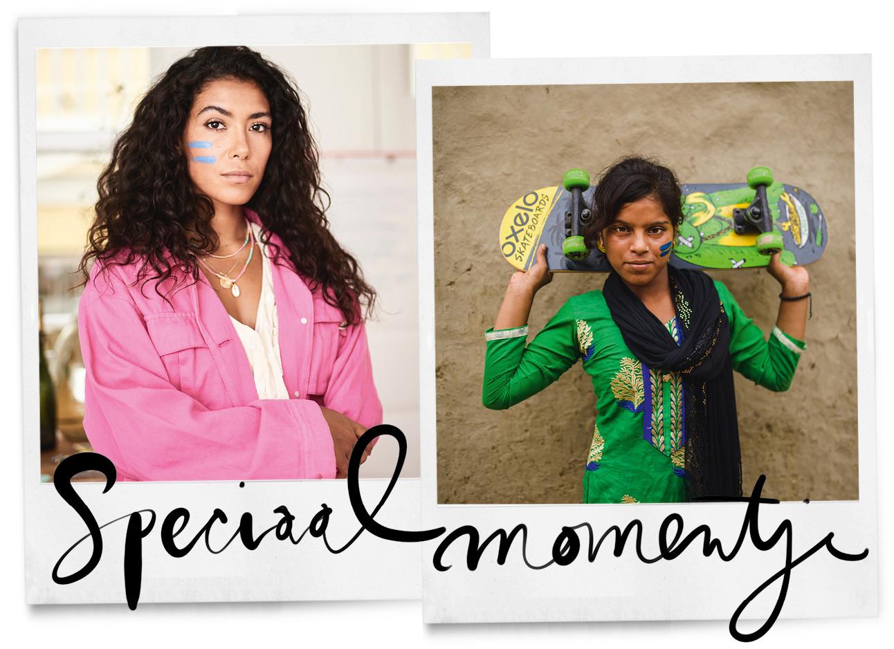 moise trustfull met een roze jasje aan en een blauwe streep op haar gezicht en een getint meisje met een groene blouse aan en een groen skateboard