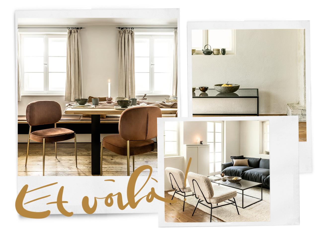 foto's van een bruin gekleurd meubilair met bruine stoelen en witten stoelen