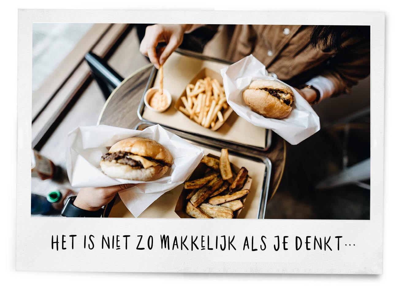 hamburgers en gezonde friet