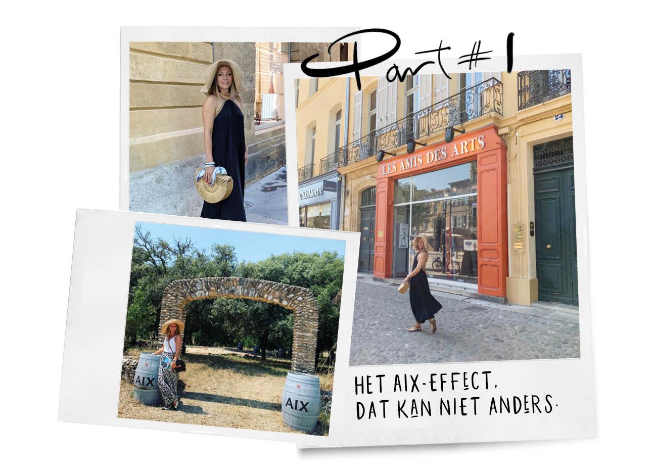 may's diary in Aix in Frankrijk lachend in de stad met een lange blauwe jurk en hoed