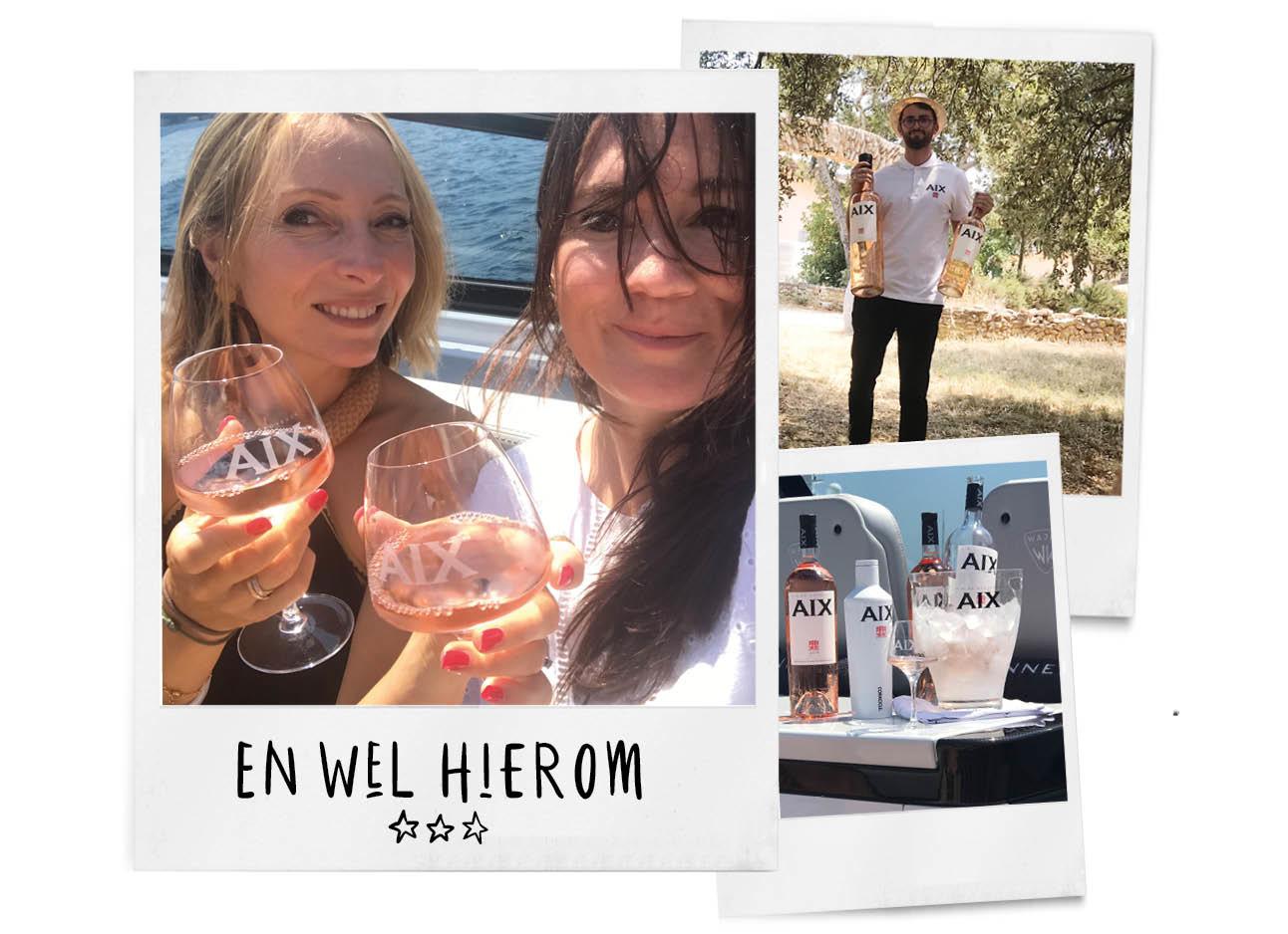 May en Daan in Provence Rose aan het drinken op een boot Aix flessen