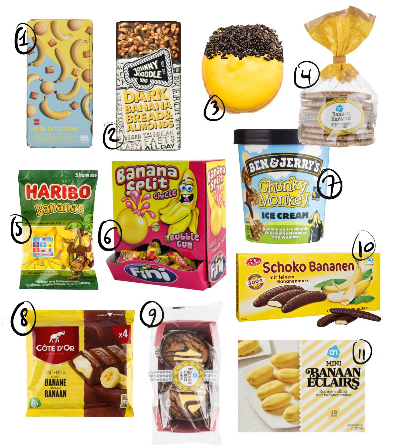 allemaal verschillende gele verpakkingen met banaantjes erop en andere felle kleurtjes