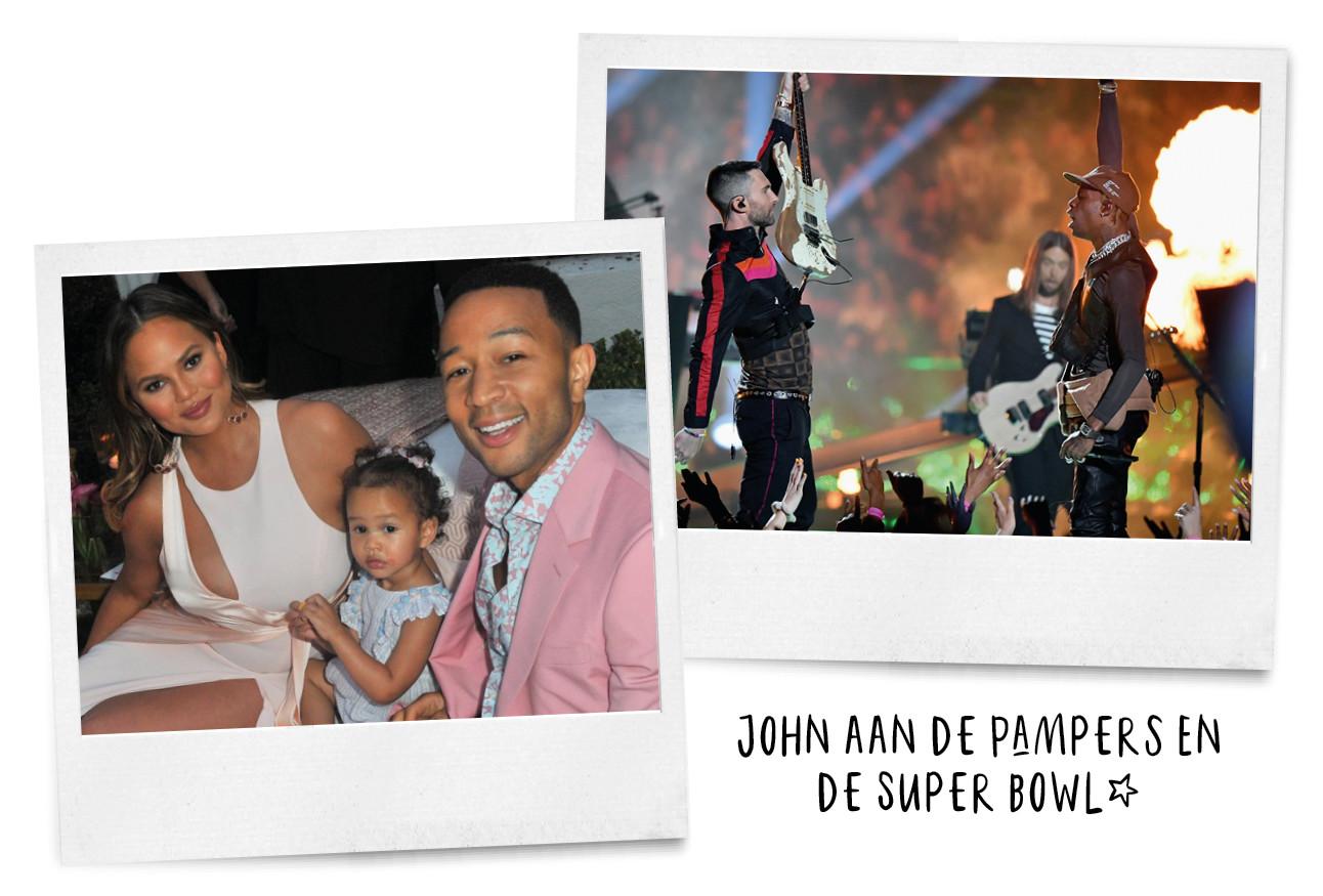 John legend met gezinnetje en maroon 5 optreden tijdens de superbowl
