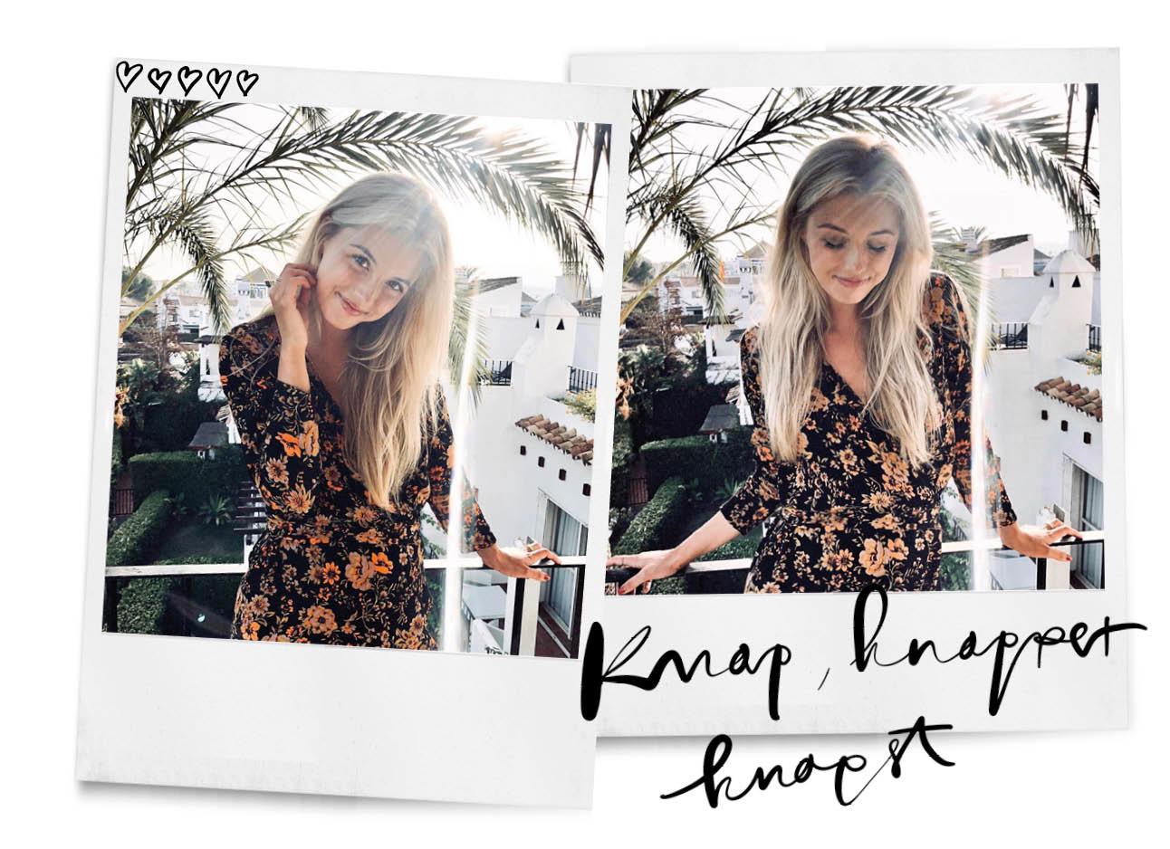 annabelle lachend in een zomers jurkje in het buitenland