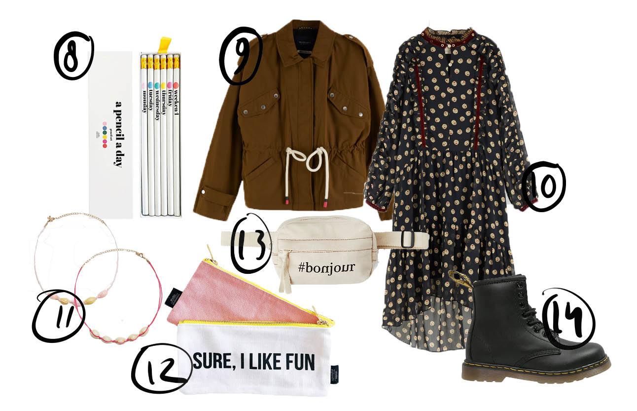 Op de pagina staat een shoppings voor meiden, er staat een halflange jurk op met een bruine jas, een paar dr martens en een heuptasje. verder nog een potloden set en een etui