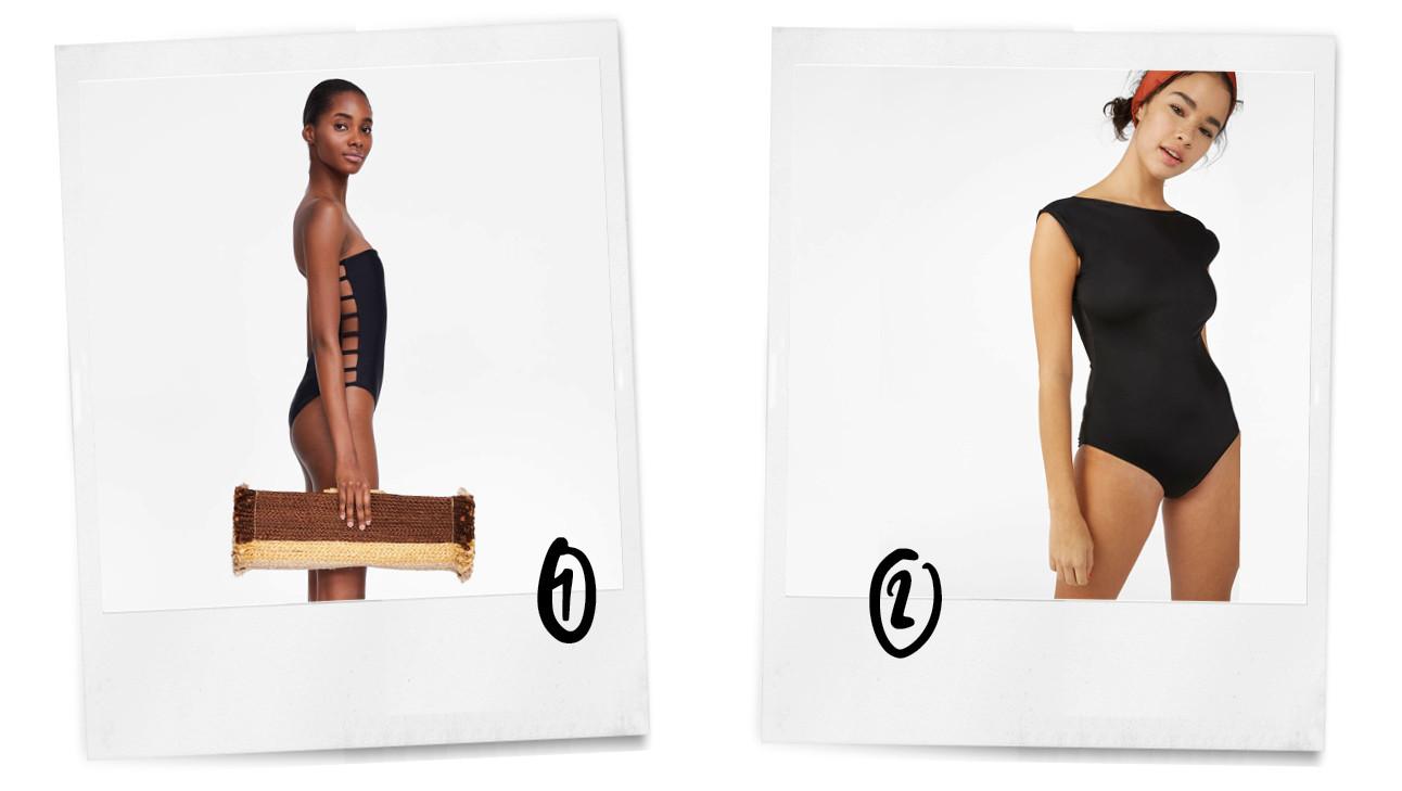 nummer 1 en twee zwart badpak met open zijde en een zwarte badpak met mouwtje