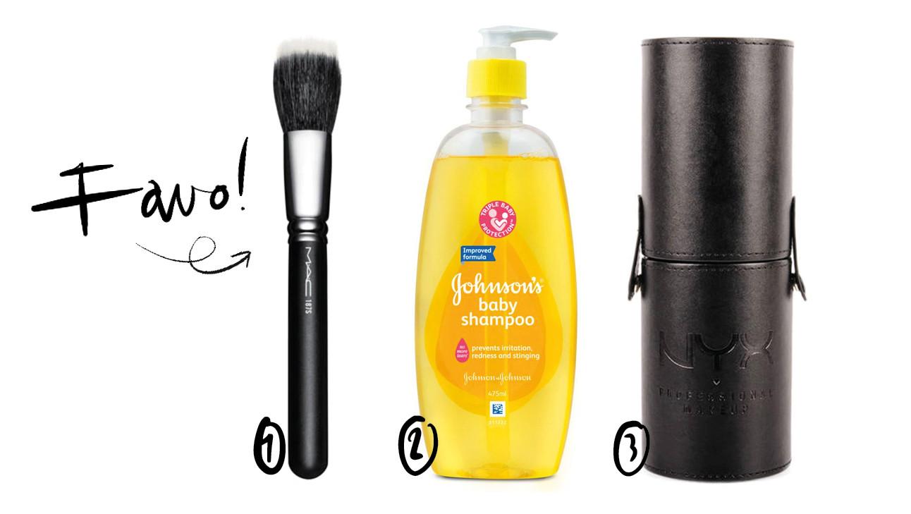 make up kwast babyshampoo en koker voor kwasten