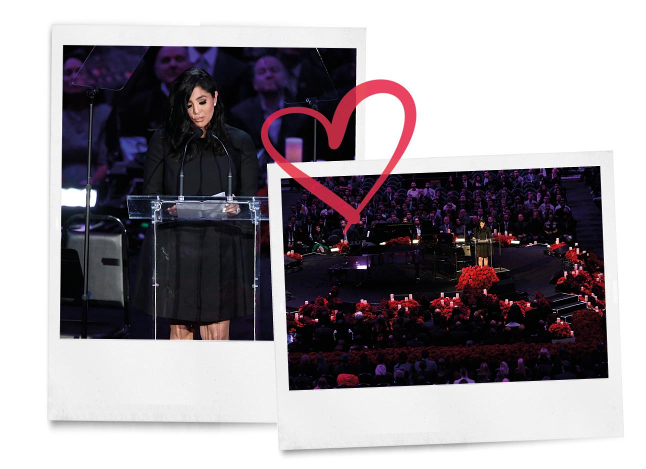 vanessa bryant in een zwarte jurk tijdens speech begrafenis overleden Kobe en dochter Gigi