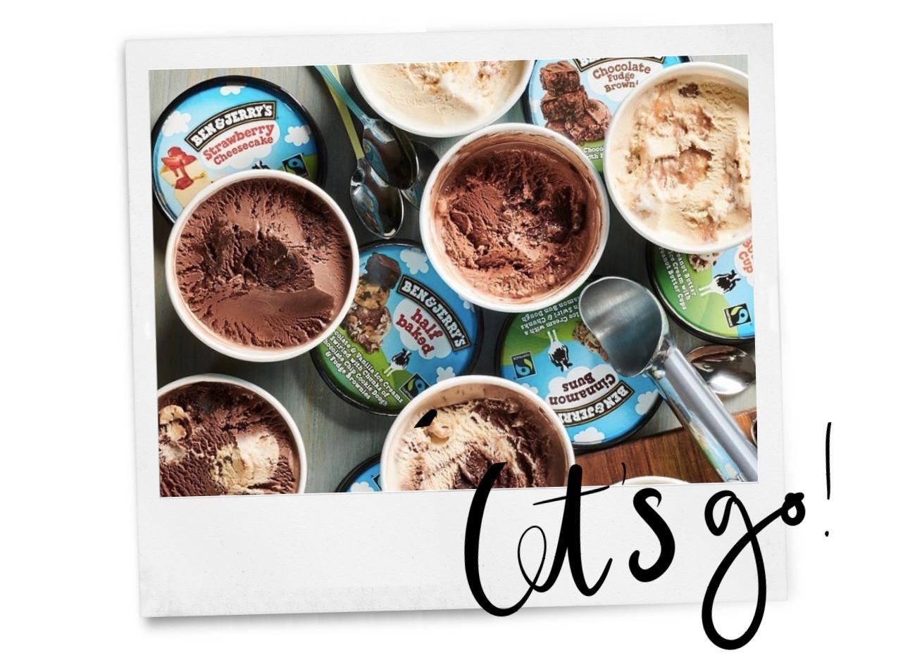 ben & jerry ijs in verschillende smaken en kleuren.