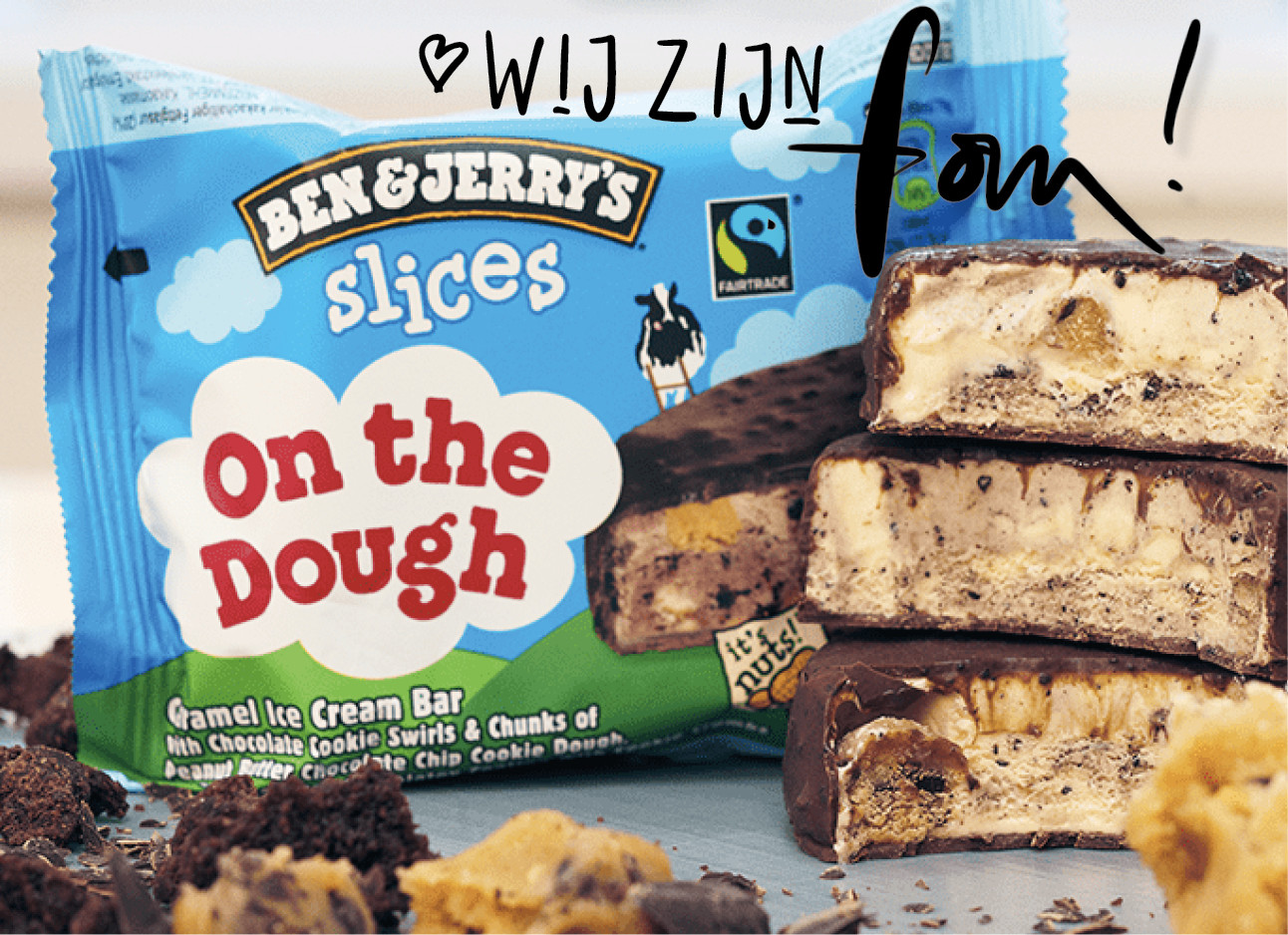 new ben & jerry's slices on the dought peanutbutter cookie dough icecream wij zijn fan