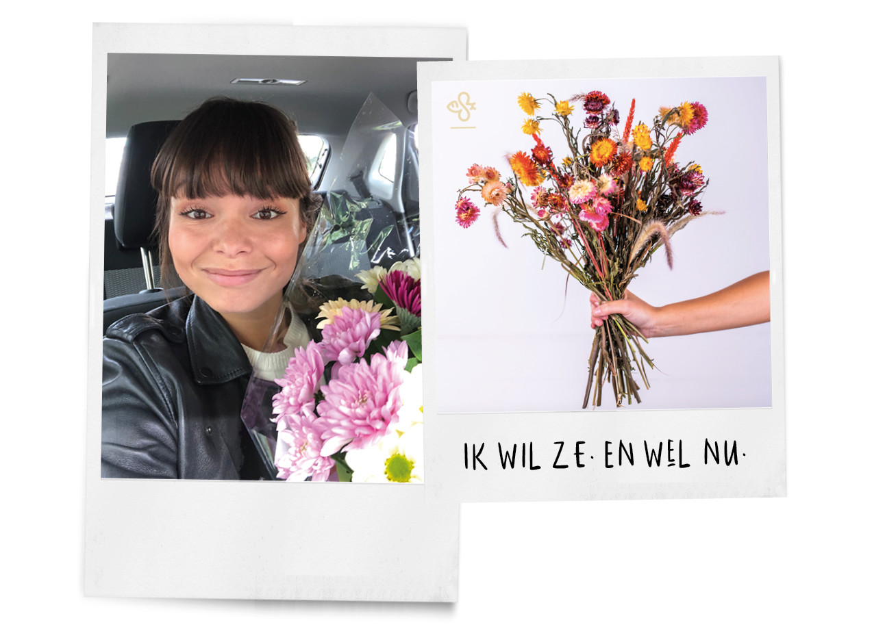 Kiki die met een bos bloemen in de auto zit en een bos gedroogde bloemen naast haar heeft
