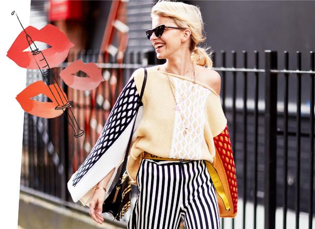 Een vrouw op London Fashion Week