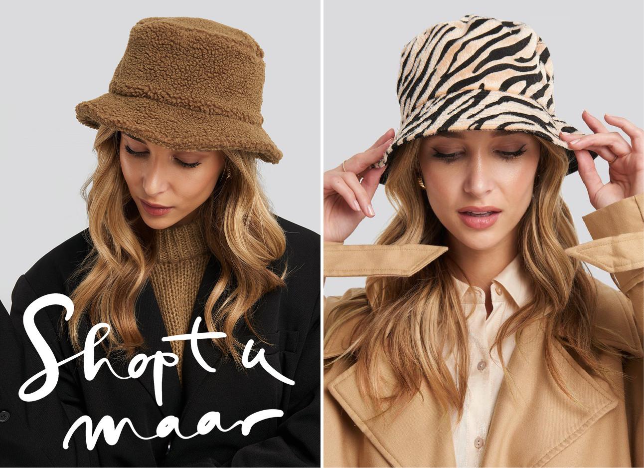 Meiden die pluizige buckethats dragen in verschillende kleuren en tinten