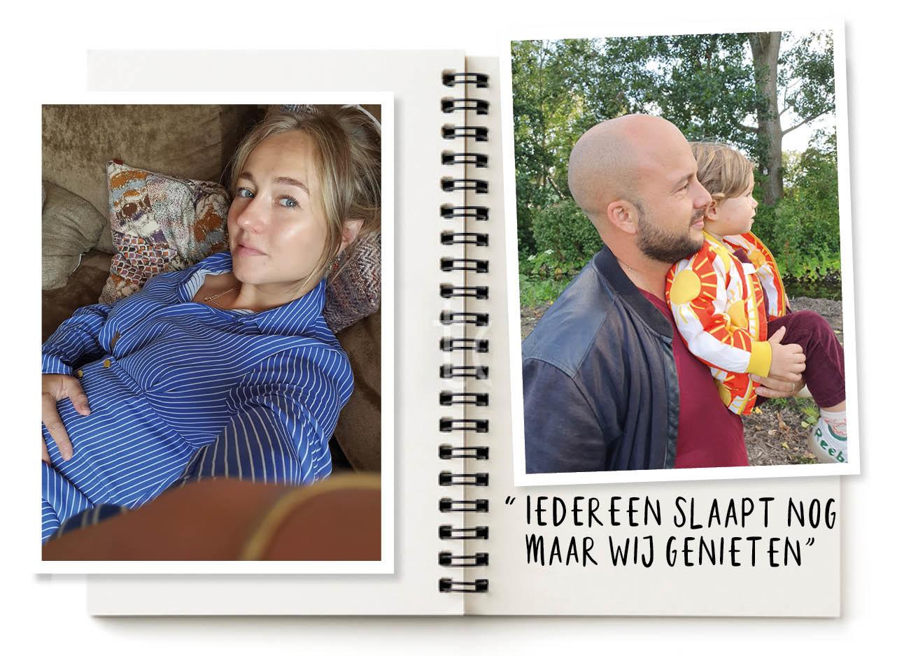 Carolien ligt op de bank in een blauwe blouse jurk. en op de foto rechts staat haar man samen met haar kind met op de achtergrond bomen