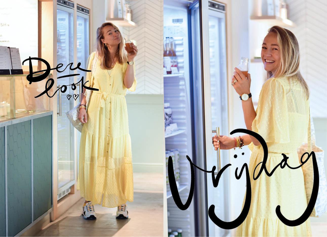 look of the day carolien spoor lachend in een sappenbar in een gele lange jurk