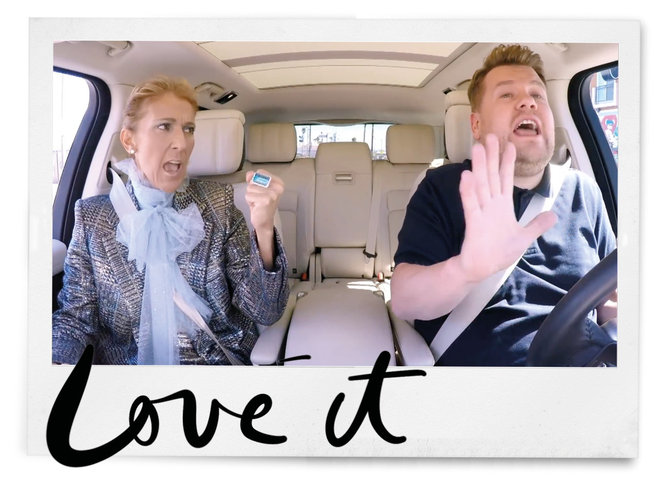 celine dion en james cordon in de auto aan het zingen voor de carpool karaoke video