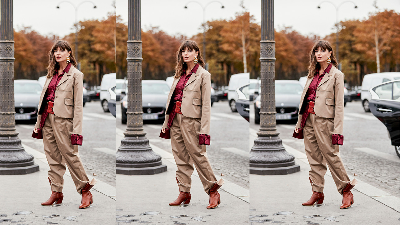 camle suit, bordeaux top, boots