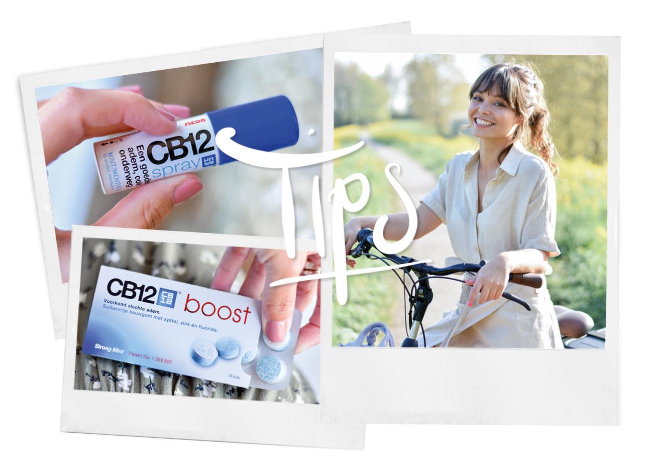 kiki duren lachend op de fiets onderweg met CB 12 kauwgom en mondspray