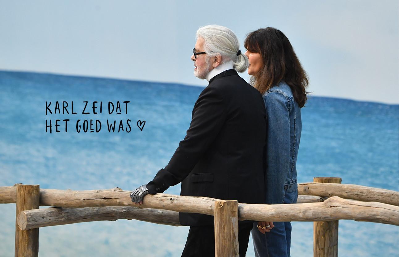karl lagerfeld en Virginie Viard samen op de runway chanelshow