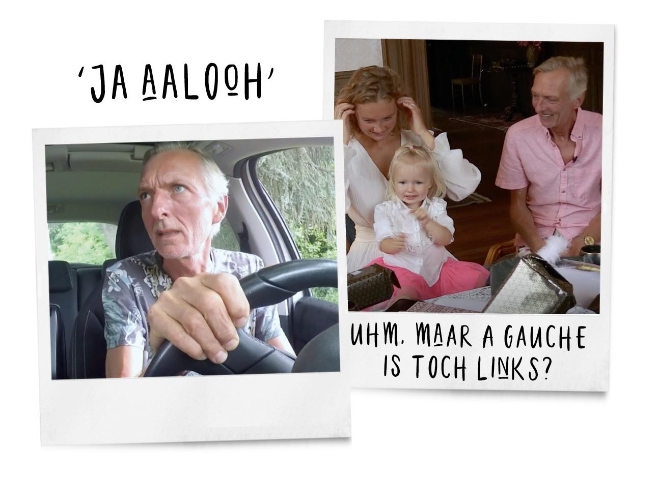 Martien meiland in de auto en met zijn dochter en klein dochter