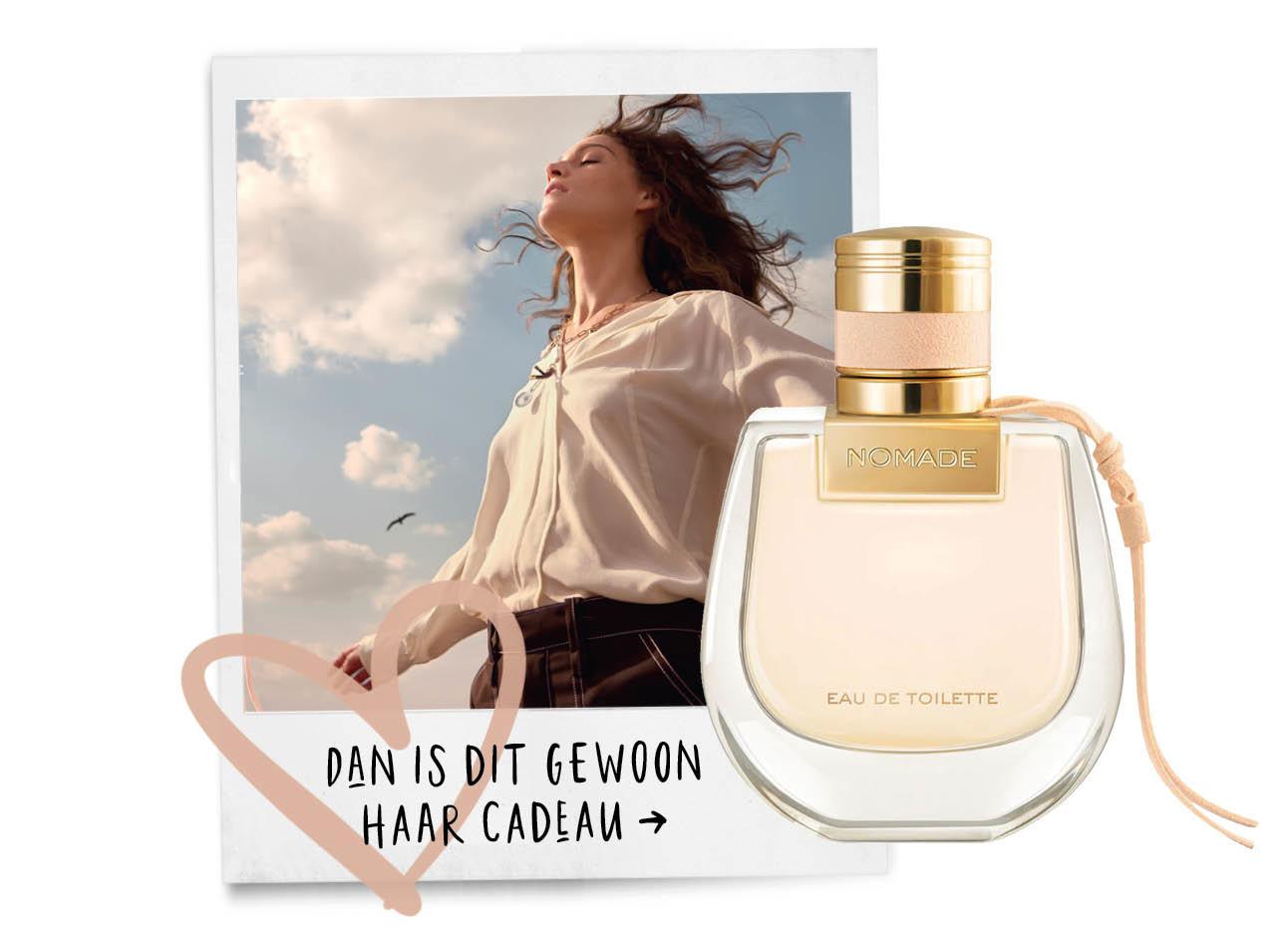 Chloe nomade eau de toilette nieuw collectie vrouw in de woestijn met parfum licht roze fles