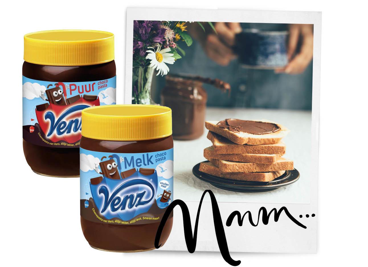 chocolade pasta van Venz boterham met chocoladepasta puur en melk