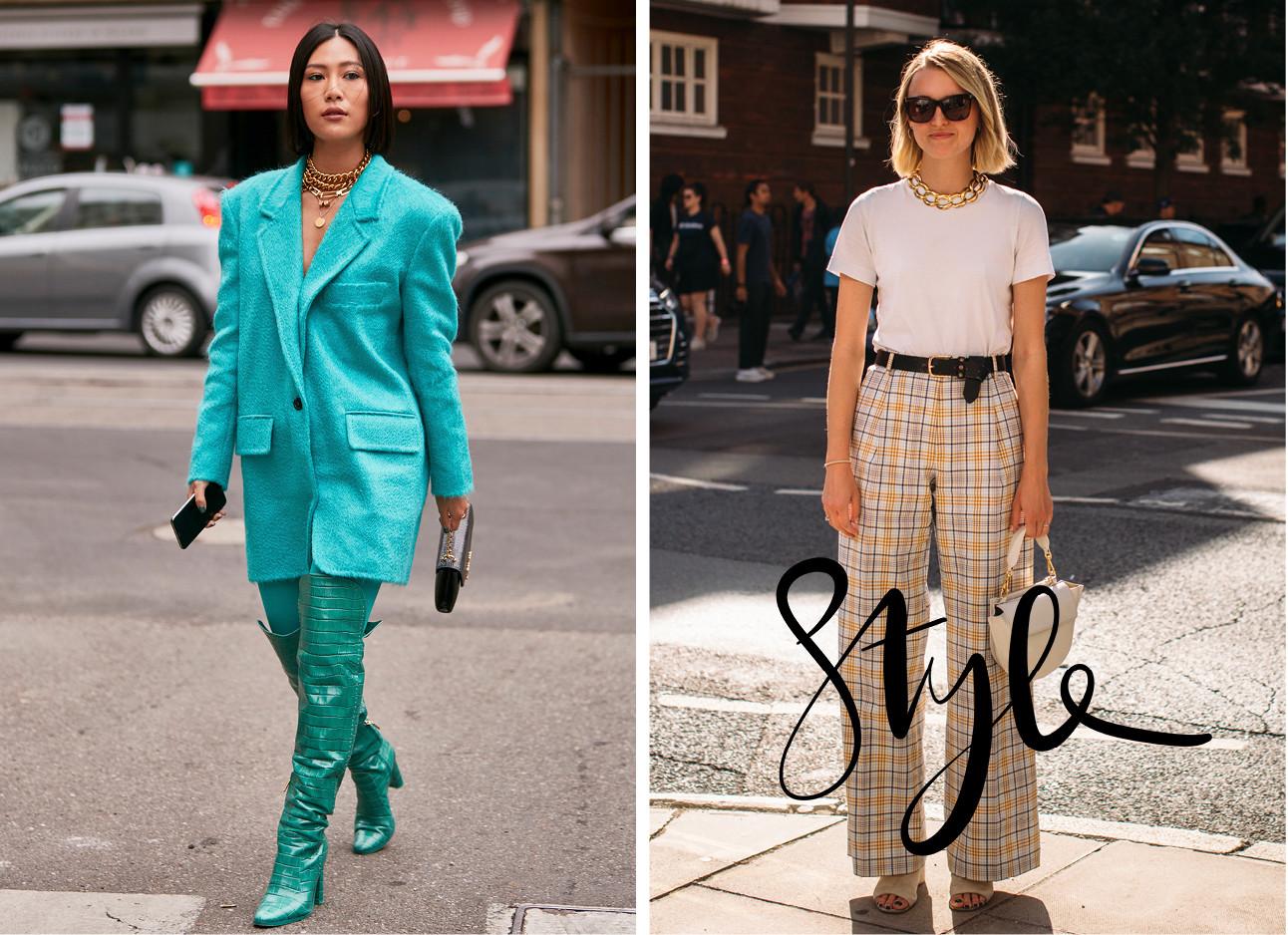 Beelden van fashion week met 2 meiden waarvan 1 een heel blauw pak draagt en de andere een geruite broek draagt me een witte top