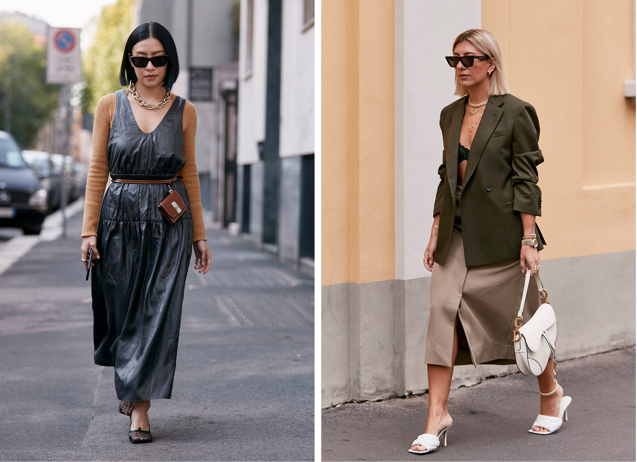 2 meiden waarvan er 1 een lange donkere jurk draagt en 1tje een bruine rok draagt met een groene top erop