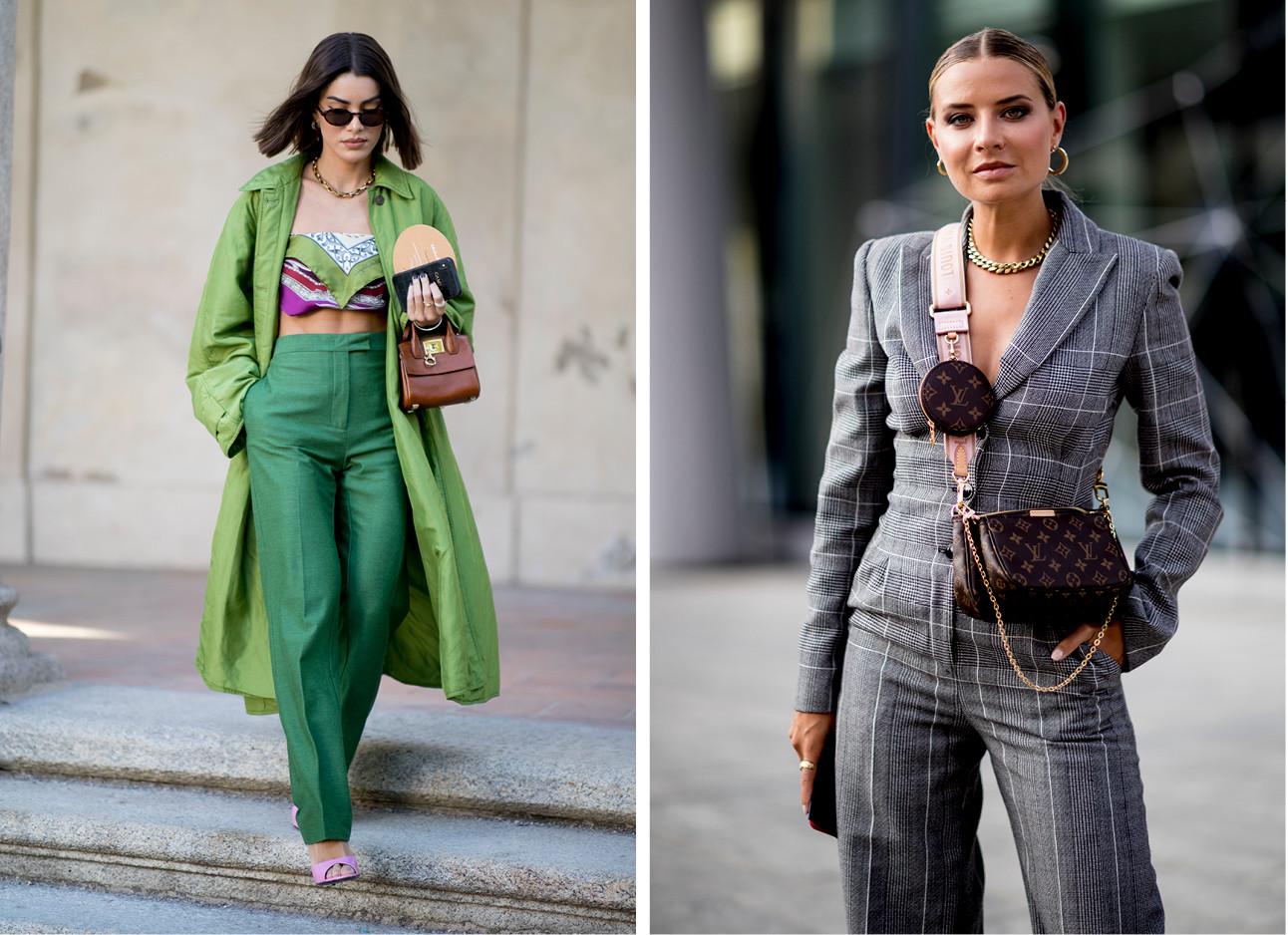 ene meisje die een groen pak draagt en de andere een grijs geruit pak met de nieuwe louis vuitton tas draagt