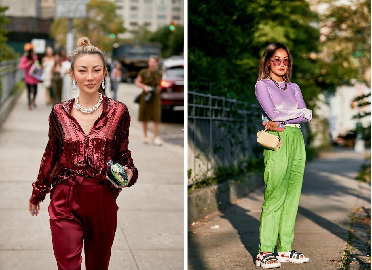 een meisje draagt een baksteen rood metallic pak en de andere een neon groene broek emt een lil top