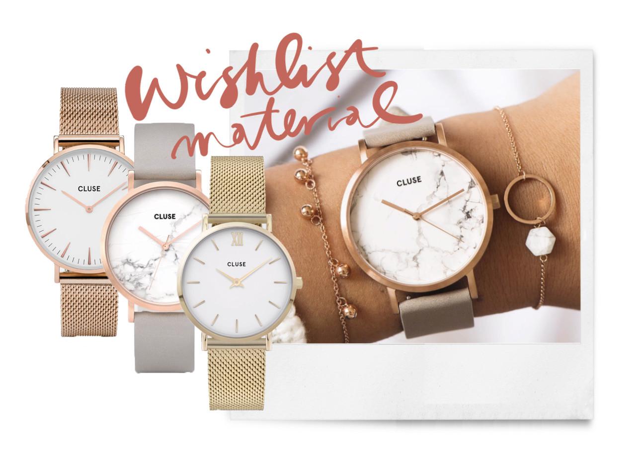 een meisje et een horloge om op een witte achtergrond, en 3 gekleurde horloges die ernaast staan van Cluse
