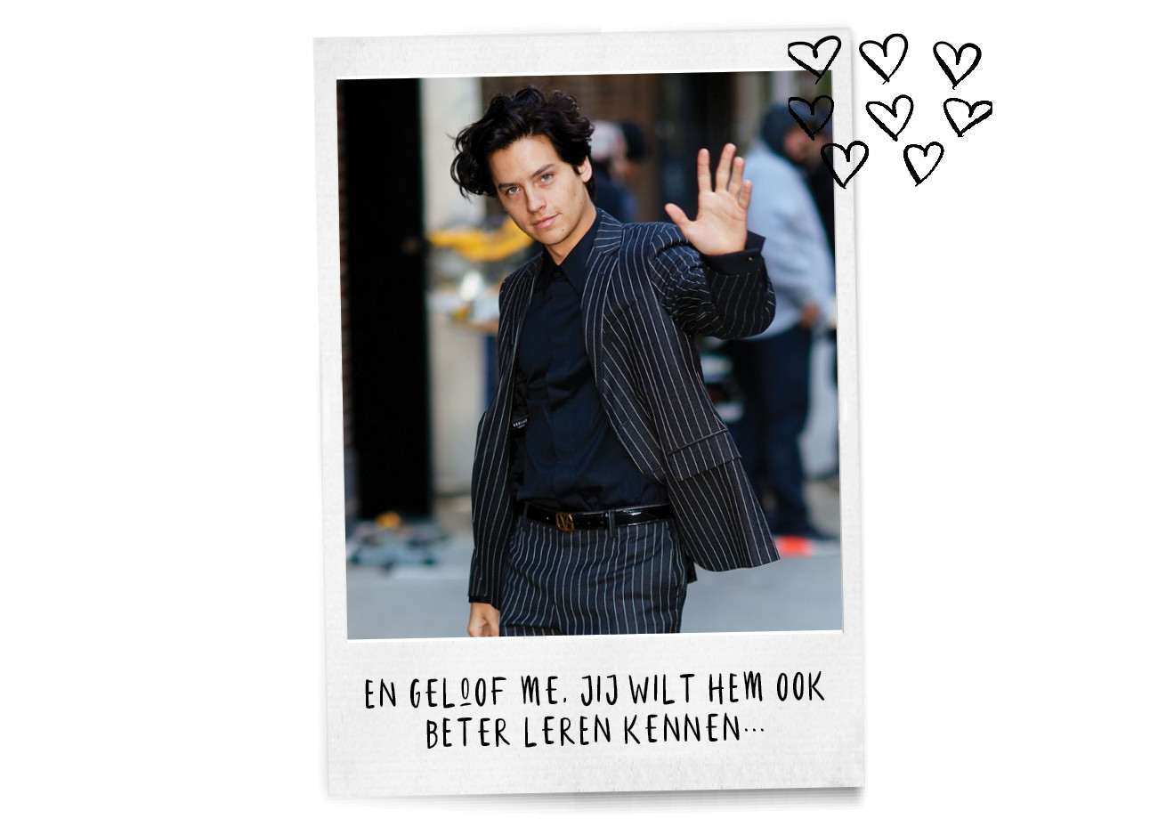 COLE SPROUSE WAVING ON STREETS SUIT