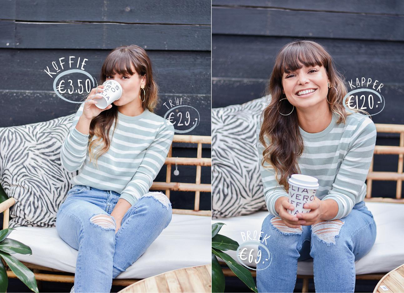 Kiki lachend in de tuin op de redactie met een koffie to go lachend