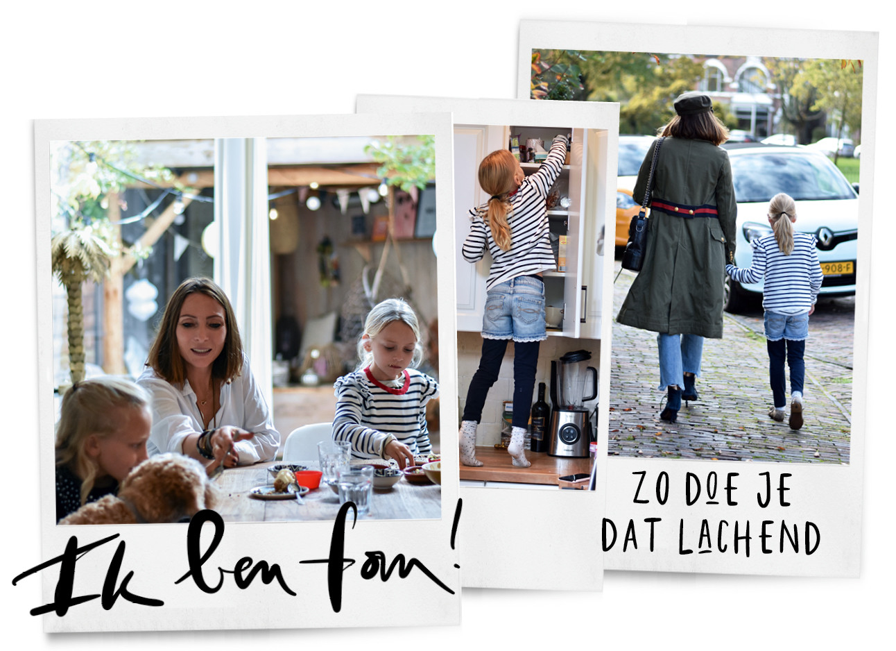 een aantal foto's van may met haar kinderen in huis