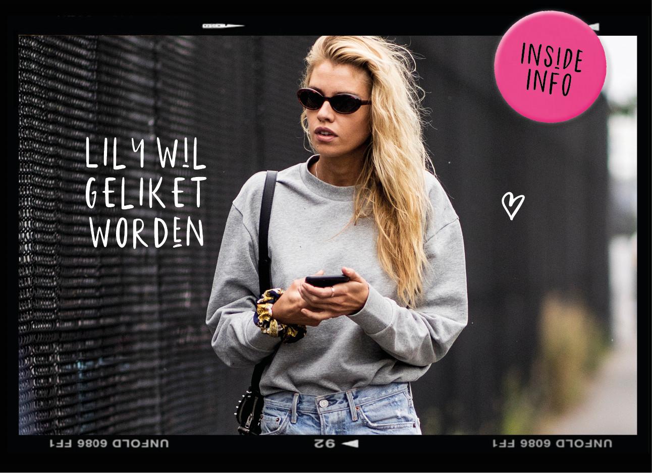 dagboek van een model, blond model met zonnebril en grijze sweater en jeans, lily wil geliket worden