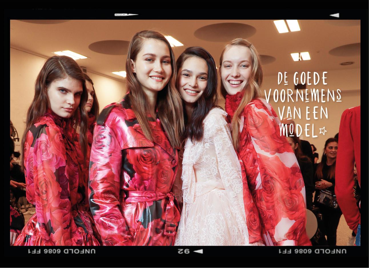 Modellen backstage mode show Blumarine