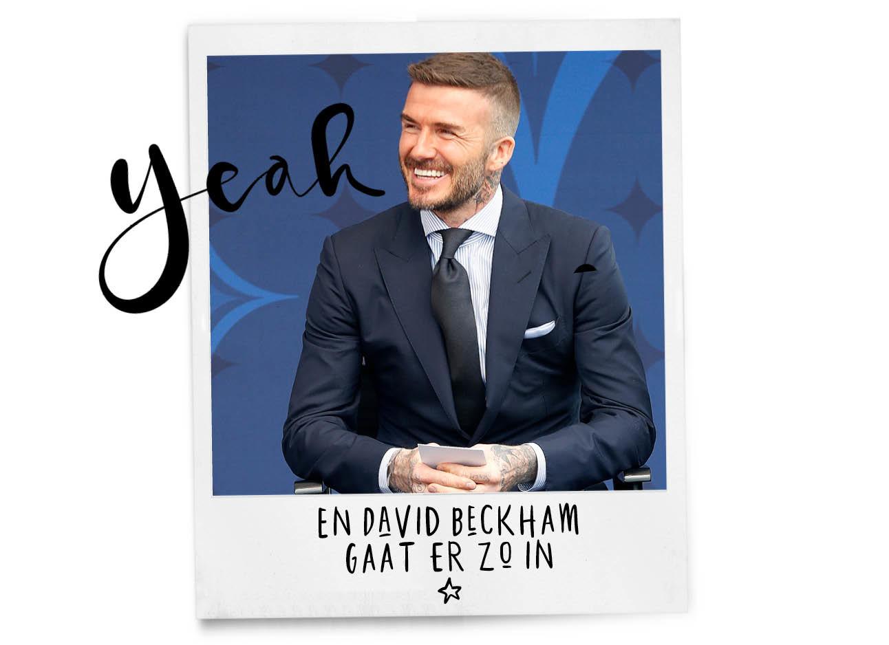 david beckham in pak voor blauwe muur
