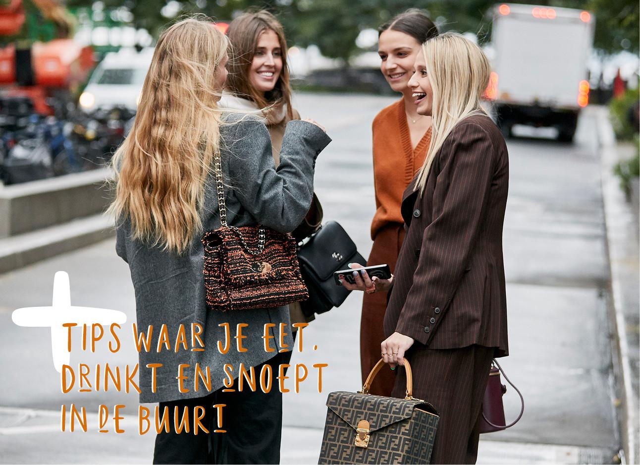Streetstyle beeld van 4 meiden in newyork