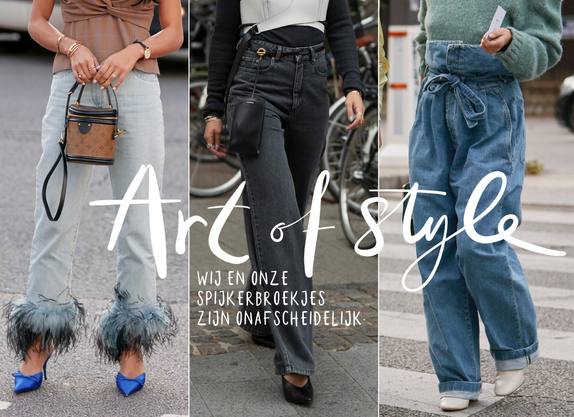 3 beelden van verschillende jeans trends. Links met veren aan de onderkant. midden wijd uitloopende pijpen. rechts een ceintuur van denim