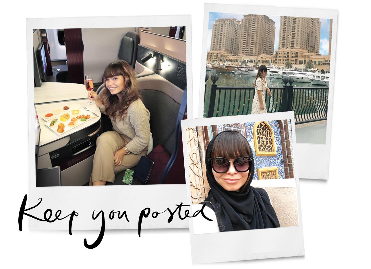 Kiki duren in het vliegtuig van qatar airways, sightseeing en met een hoofddoek en bril op, keep you posted